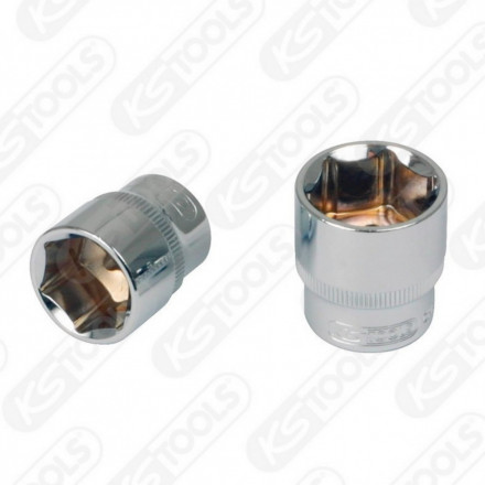 "3/8"" CHROMEplus Hexagonal socket, 6mm, KS tools"