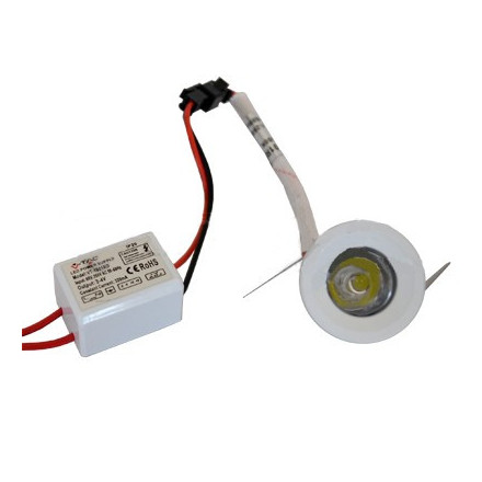 1W LED įmontuojamas šviestuvas, apvalus, mažas, baltas (3000K) šiltai balta