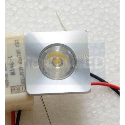1W LED įmontuojamas šviestuvas, kvadratinis, mažas, aliuminis (3000K) šiltai balta
