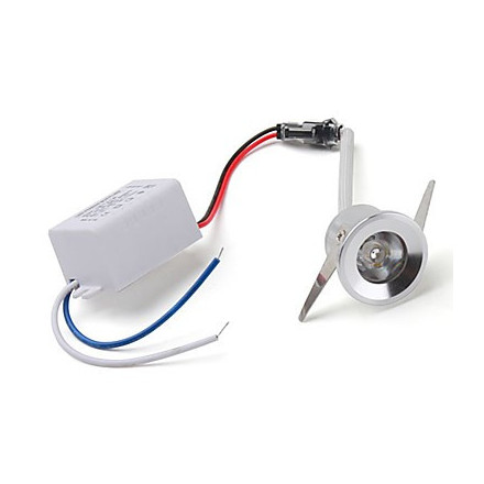 1W LED įmontuojamas šviestuvas, apvalus, mažas, aliuminis (3000K) šiltai balta