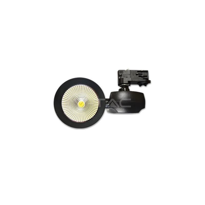 40W Euro LED šviestuvas ant bėgelio V-TAC, juodas, (3000K) šiltai balta