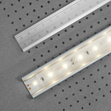 1m LED juostos profilio dangtelis F (skaidrus) KLIK