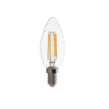 4W LED COG lemputė V-TAC E14, susuktos žvakes formos, (2700K) šiltai balta