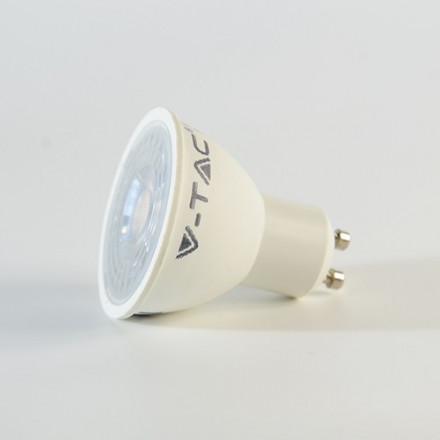 7W LED lemputė V-TAC GU10 SMD, su lęšiu, (3000K) šiltai balta, pritemdoma