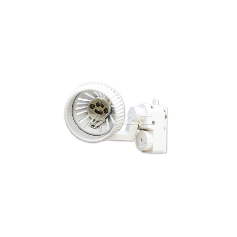 GU10 lemputės laikiklis V-TAC, baltas, montuojamas ant bėgelio, 2 šerdžių
