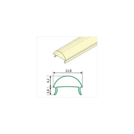 1m LED juostos profilio dangtelis C su lęšiu (skaidrus)