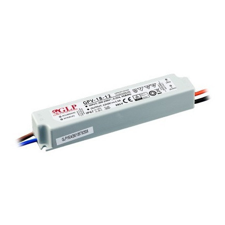 18W LED Maitinimo šaltinis GLP 12V IP67
