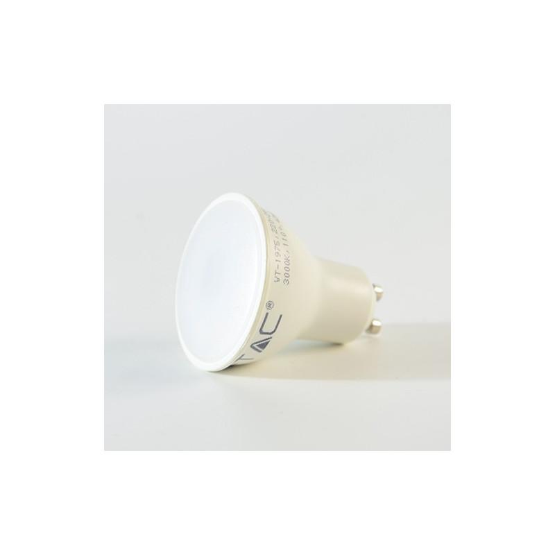 5W LED lemputė V-TAC GU10 su plastikiniu matiniu dangteliu, (3000K) šiltai balta