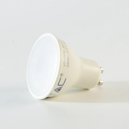 5W LED lemputė V-TAC, GU10, su plastikiniu, matiniu dangteliu, (4500K) dienos šviesa