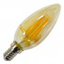 4W LED lemputė V-TAC E14, žvakės formos, (2200K) gintariniu paviršiumi
