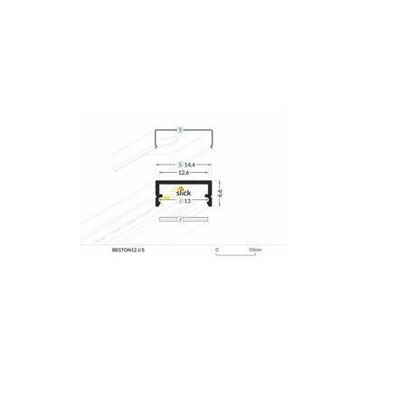 1m LED juostos profilis BEGTON12 (baltai nudažytas)