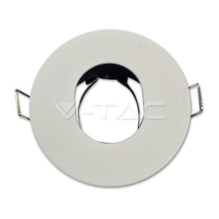 GU10 lemputės rėmelis, V-TAC, matinis, baltas, apvalus