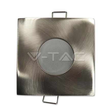 GU10 lemputės rėmelis, V-TAC, kvadratinis, aliuminis, spalva - satino/nikelio, IP54