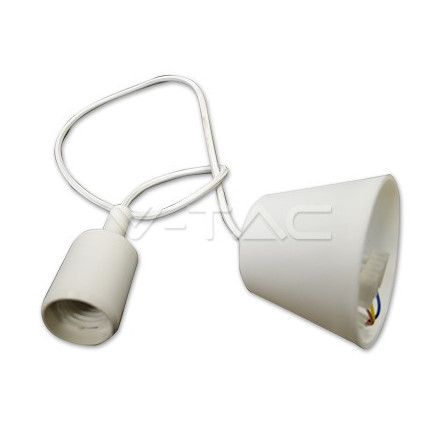Pakabinamas LED lemputės E27 laikiklis, baltas