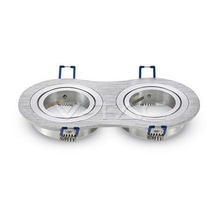 2 x GU10 lemputės rėmelis, V-TAC,apvalus, aliuminis BRUSH