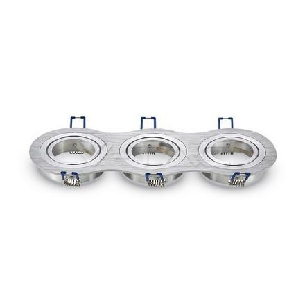 3 x GU10 lemputės rėmelis, V-TAC,apvalus, aliuminis BRUSH