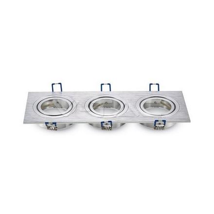3 x GU10 lemputės rėmelis, V-TAC,kvadratinis, aliuminis BRUSH