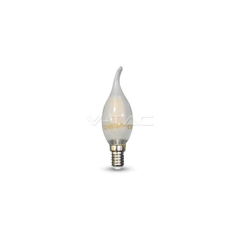 4W LED lemputė V-TAC E14, žvakės formos,riesta, matiniu stikliuku, (2700K) šiltai balta