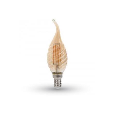 4W LED COG lemputė V-TAC E14, AMBER, riesta, susuktos žvakės formos (2200K) šiltai balta