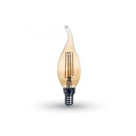 4W LED lemputė V-TAC E14, žvakės formos, gintariniu stikliuku, (2200K) šiltai balta