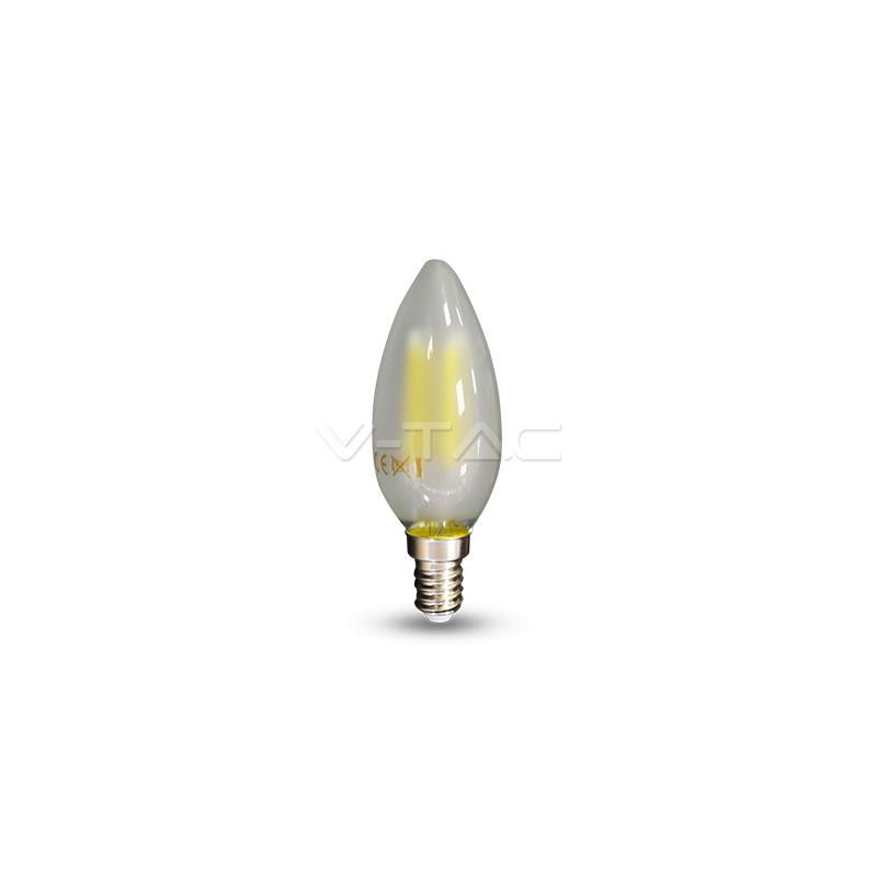 4W LED lemputė V-TAC E14, žvakės formos, matiniu stikliuku, (2700K) šiltai balta