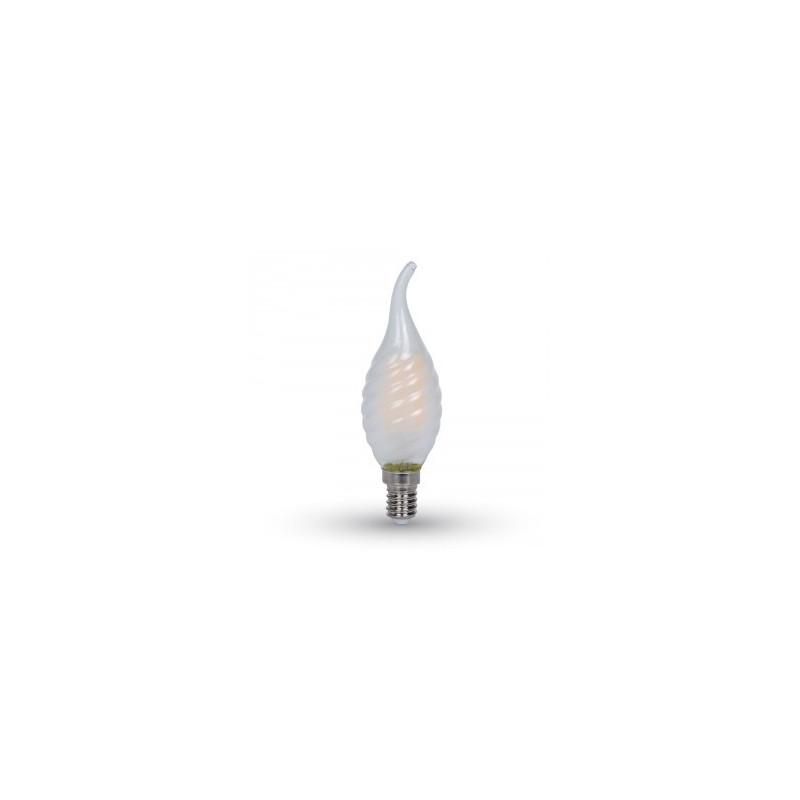 4W LED COG lemputė V-TAC E14, matiniu stiklu, susuktos žvakes formos, riesta, (2700K) šiltai balta