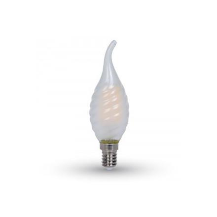 4W LED COG lemputė V-TAC E14, matiniu stiklu, susuktos žvakes formos, riesta, (4000K) dienos šviesa