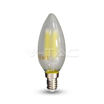 4W LED lemputė V-TAC E14, žvakės formos, matiniu stikliuku, (6400K) šaltai balta