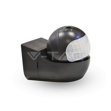PIR judesio daviklis V-TAC, montuojamas ant sienos, su judančia galva, 180° juodas, IP44