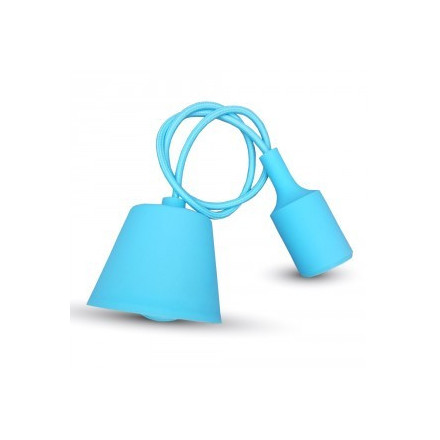 Pakabinamas LED lemputės E27 laikiklis, šviesiai mėlynas