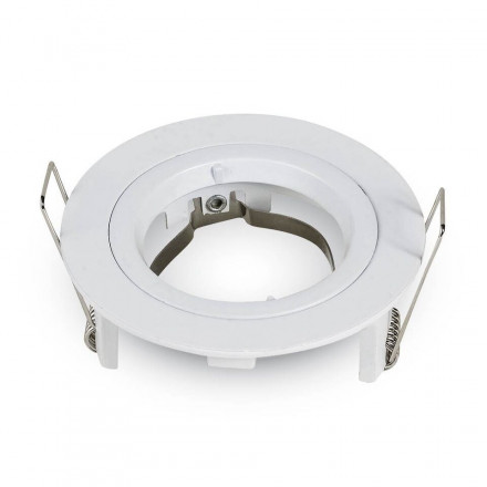 GU10 lemputės rėmelis, V-TAC, apvalus, baltas,  Φ81 x 34 mm