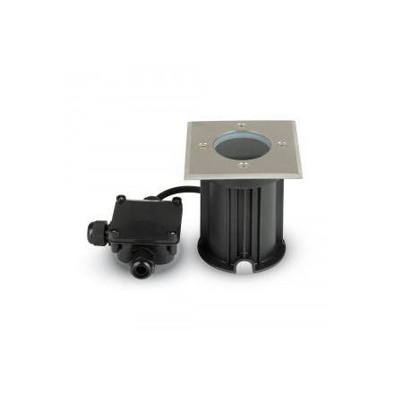 Požeminis nerūdijančio plieno GU10 laikiklis, juodas, kvadratinis, IP65