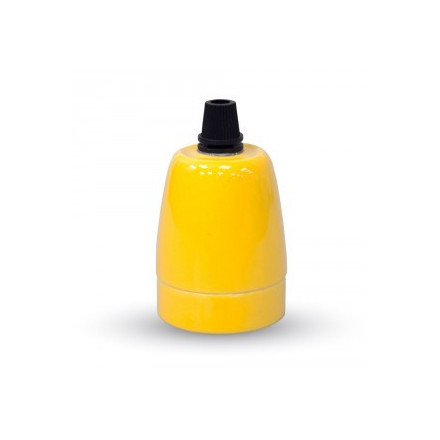 Porcelianinis LED lemputės E27 laikiklis, geltonas.