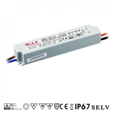 18W LED Maitinimo šaltinis GLP 24V IP67