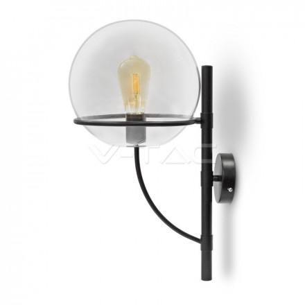 Sieninis apvalus šviestuvas V-TAC E27, Ф210mm, stiklas / metalas, skaidrus.