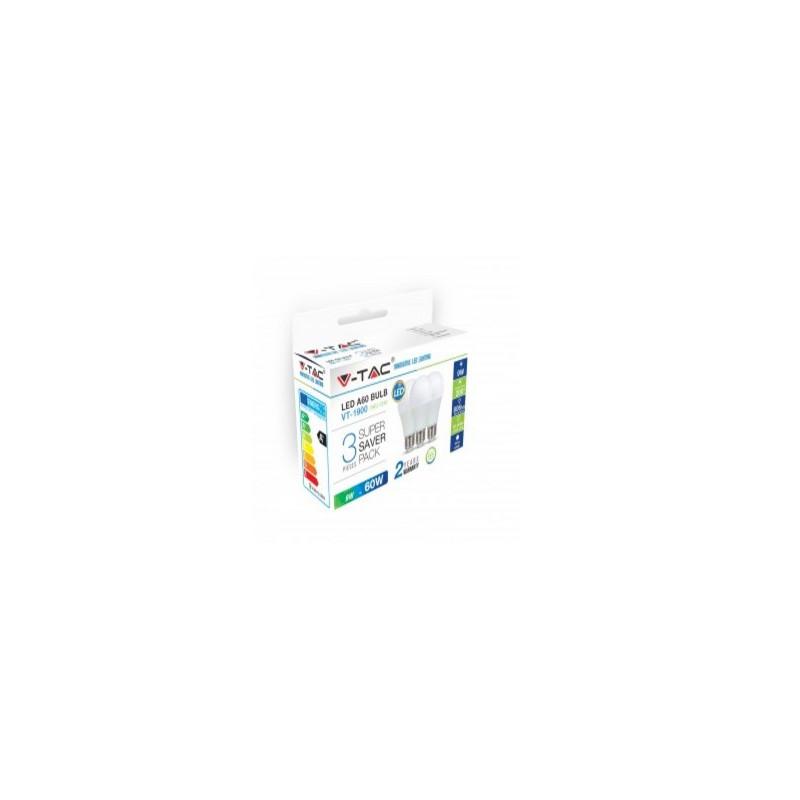 9Wx3vnt/pakuotėje LED lemputės V-TAC, E27, A60, termoplastikas, 6400K (šaltai balta)