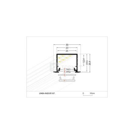 1m LED juostos profilio LINEA-IN20, juodai anoduotas