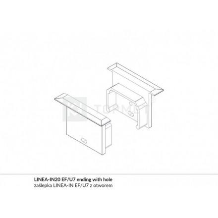 LED juostos profilio LINEA-IN20 užbaigimo elementas su skyle, baltas
