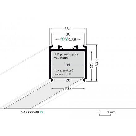 1m LED juostos profilis skirtas maitinimo šaltiniui uždengti VARIO30-08, baltas,