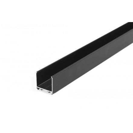 1m LED juostos profilis skirtas maitinimo šaltiniui uždengti VARIO30-08, juodai anoduotas.