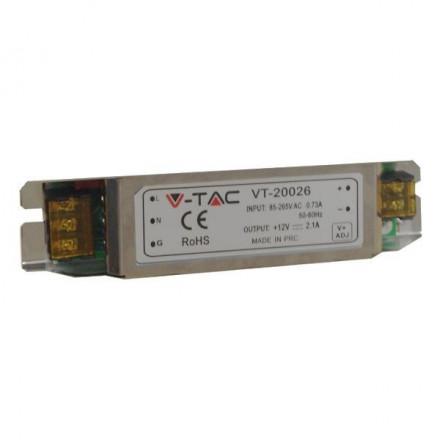 25W Maitinimo šaltinis SLIM 12V V-TAC , neatsparus drėgmei (IP20)
