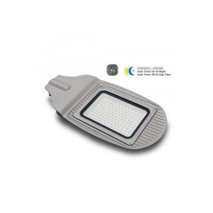 50W Gatvės šviestuvas VTAC, su sensorium, pilkas, 4000K(natūraliai balta)