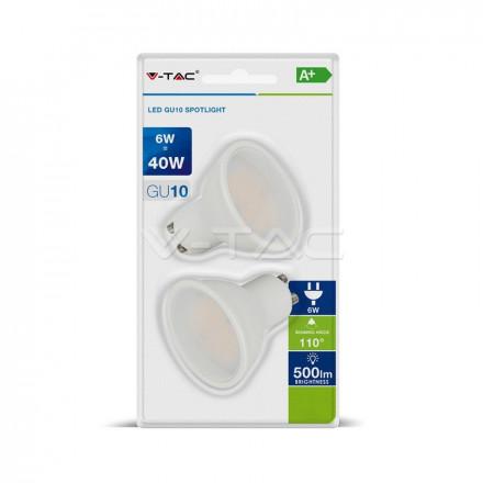 6Wx2vnt/pakuotėje LED lemputės SMD V-TAC GU10, baltas plastikas, (3000K) šiltai balta