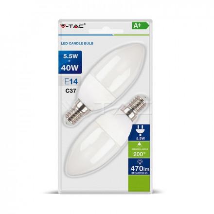 5,5Wx2vnt pakuotėje LED lemputės E14 V-tac, žvakės formos,  2700K (šiltai balta)