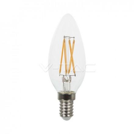 4W LED lemputė V-TAC, E14, žvakės formos, filamentinė, A++, 2700K (šiltai balta)
