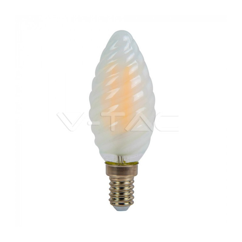 4W LED lemputė V-TAC, E14, žvakės formos, matiniu paviršiumi, filamentinė,  2700K (šiltai balta)