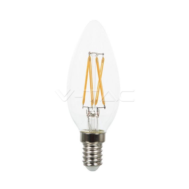 4W LED lemputė V-TAC, E14, žvakės formos, permatomas stiklas, filamentinė, dimeriuojama, 2700K (šiltai balta)