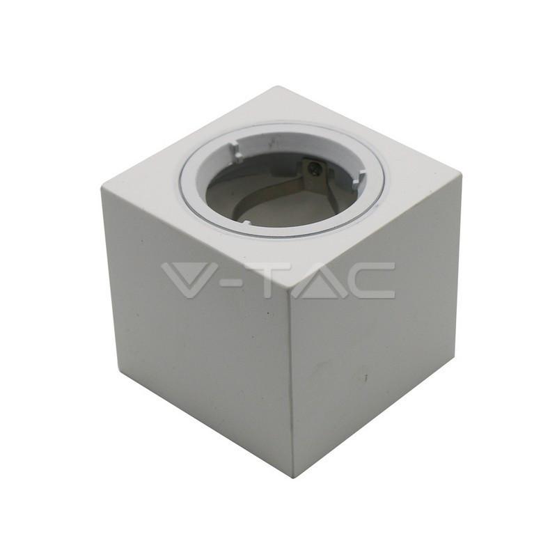 GU10 lemputės rėmelis, V-TAC, kvadratinis, baltas, su aliuminio žiedu, korpusas: gipsas.