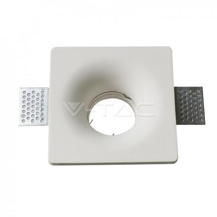 GU10 lemputės rėmelis, V-TAC, kvadratinis, įmontuojamas, baltas, korpusas: gipsas.