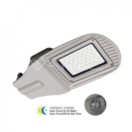 30W gatvės šviestuvas V-TAC, pilkas, su jutikliu, 4000K (natūraliai balta)